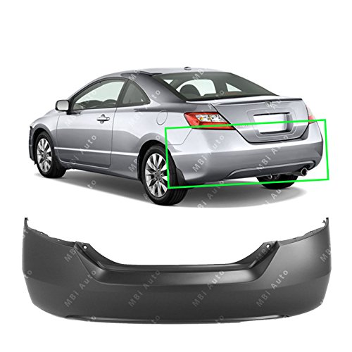 2006 2007 Honda Civic Coupe - MBI AUTO - Primered, Rear Bumper Cover Replacement for 2006-2011 Honda Civic Coupe 2-Door 06-11, HO1100234