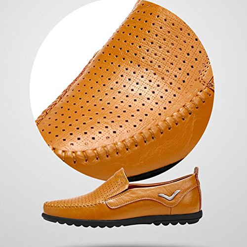ocio de libremente verano respirar diseño de hombre de cuero de de ZJM Color Tamaño sandalia Zapatos Zapatos caballero de negocios de ocio recorte de 45 negocios de Yellow Marrón Brown de Zapatos Z61qwwyY40