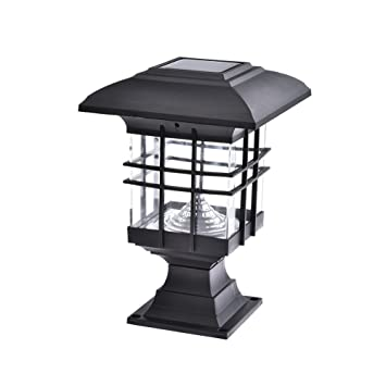 Lámpara solar en pilar, impermeable, para paisajes, con bombilla LED, poste de luz para exterior, jardín, parque, patio, puerta o decoración: Amazon.es: ...