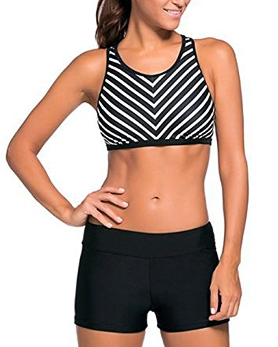 Zando Women Sporty Tankini Vintage Vest Swimsuit Two Piece Biniki with Boyshort Athletic Swimwear Bathsuit for Teen Zebra Black White S (US Size 2-4) (Zebra Boyshort)