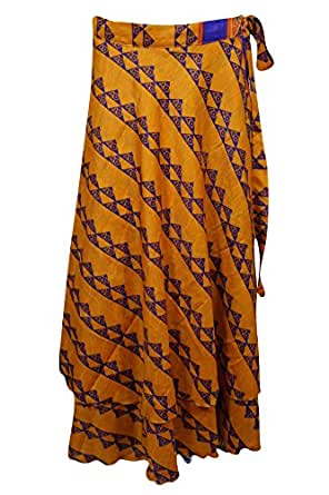 Womens Vintage Wrap Skirt Two Layer Vintage Sari Reversible Beach Dress Cover Up (Yellow)