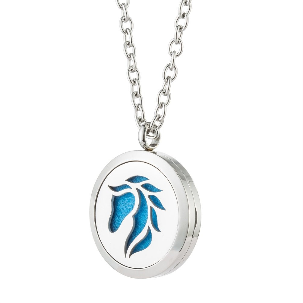 Horse Fragrance Essential Oil Diffuser Necklace - Stainless Steel Aromatherapy Locket Pendant Jewelry - for Women, Girl, Boy Gift By Jenia