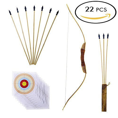 Adult Target (Wooden Bow and Arrows | For Kids And Beginners - 22 Pieces Complete Kit | 34 Inch Bow & Ten 18 Inch Arrows & quiver & 10 Target Sheets | Rubber Arrowhead | Hand Crafted And Solid Wood | Archery Set)
