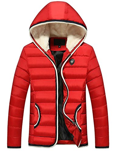 today Coat Winter Jacket Thick Red Down UK Coat Winter Slim Padded Men's Hood rn0qH1wrR