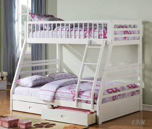 New White Pine Wood Twin Over Full Bunk Bed with 2 Storage Drawers