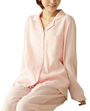 a8111e8bc8 Jotebriyo Womens Sleepwear Button Up Shirts and Pants Two Piece Cotton Solid  Pajama Sets at Amazon Women's Clothing store: