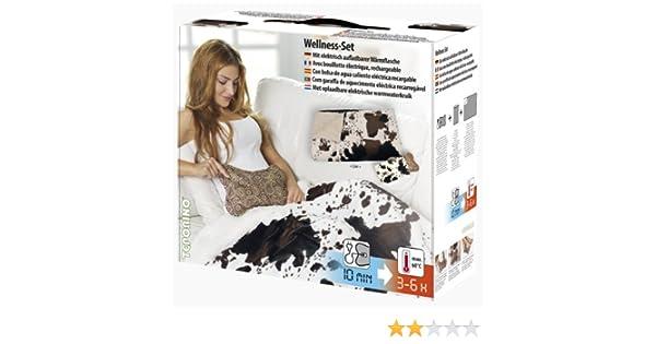 Teporino TF2M - Bolsa de agua caliente eléctrica con funda y manta, diseño de vaca: Amazon.es: Salud y cuidado personal