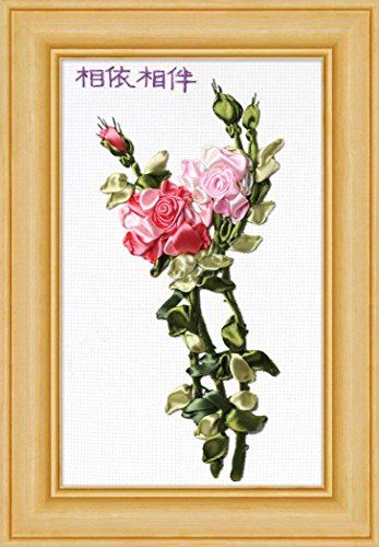 Aureate Handmade Silk Ribbon Embroidery Kits Canvas 3D Wall Art Home Decoration DIY Needlepoint Tapestry Hanging Gift Home Love Forever Rose 10×12
