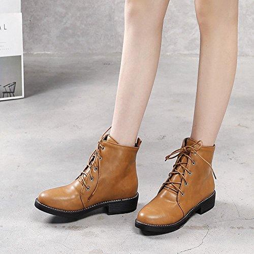 Mee Shoes Damen Niedrig mit Schnüre gefüttert Stiefel Gelbbraun