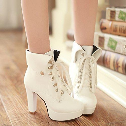 Agodor Women's Block Heel Platform High Heels Lace up Ankle Boots With Rivets Elegant Winter Shoes White GFxwoak