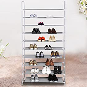 10 Tiers Shoe Rack Easy Assembled Fabric Shoe Tower Stand Sturdy Shelf Storage Organizer Cabinet Entryway Closet[US STOCK] (Silver+Gray)