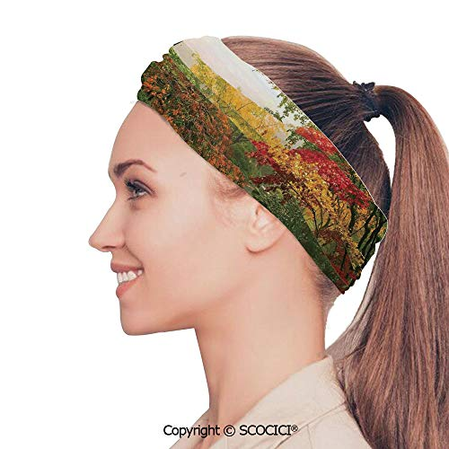 SCOCICI Stretch Soft and Comfortable W9.4xL18.9in Headscarf Headbands Maple Trees in The Fall at Portland Japanese Garden One Foggy Morning Scenery,Red Yellow Green Perfect for Running, Working Out,