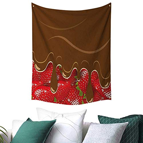 - Kitchen Art Tapestry for Dorm Strawberries Melted Chocolate Confectionery Fruit Sweet Delicacies Food Art Festival Flags 60W x 91L INCH Brown Red