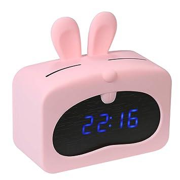 Decdeal Mini LED Despertador Digital,Hora Fecha Pantalla de Temperatura Reloj de Alarma Control de Sonido,USB y con Pilas,Alarmas de Luminancia Ajustable: ...