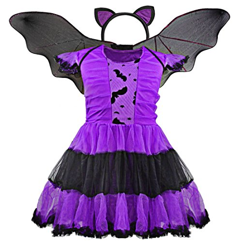 Freebily Girls Halloween Purple Bat Princess Dress Wing Headband Cosplay Costume Sets Purple 5-6 ()