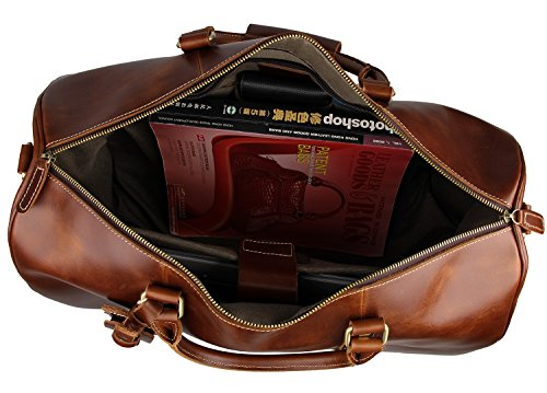Mens Leather Travel Duffel Bag Brown Weekend Wheeled Carry ON Luggage Bags by Huntvp (Image #5)