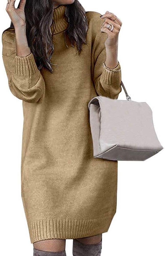 Litthing Women Turtleneck Knit Sweater Long Sleeves Pullover Casual Outerwear Dress Winter Warm Jumper Tops