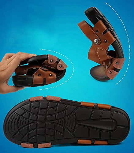 Black H Flops Sandals Strap Moveable Outdoor Leather Ankle Flip Casual With Mens amp;W wHqrw7A
