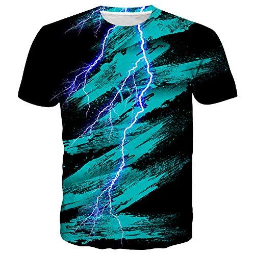 - Syaimn Unisex 3D Pattern Print Short Sleeve T-Shirts Casual Graphics Tees L Black Blue