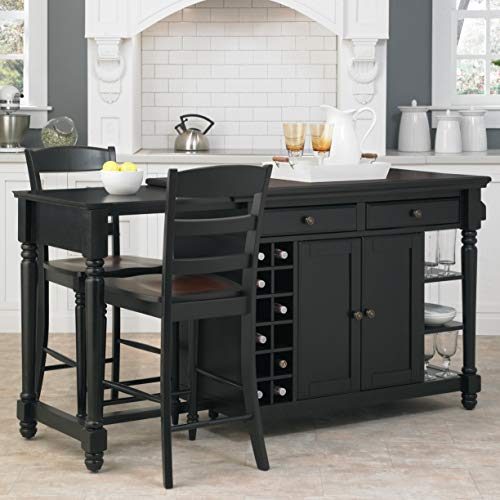 Kitchen Island and 2 Stools Black Traditional Brass Metal Wood Drawers (36 Inch Counter Bar For What Stool Size)
