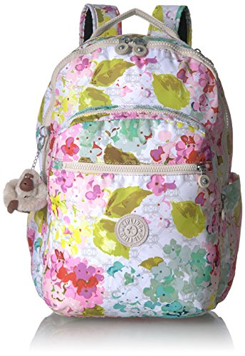 Seoul L Printed Laptop Backpack Backpack, LUSCFLRWHT, One Size by Kipling