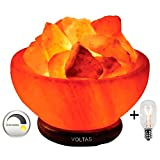 Voltas Himalayan Salt Lamp Bowl is Hand Crafted Out of Huge Salt Rock Crystal This Beautiful Fire Bowl Salt Lamp Comes with 6ft UL Listed Dimmer & 2 Bulbs, one for Salt Crystal Lamp & one Free