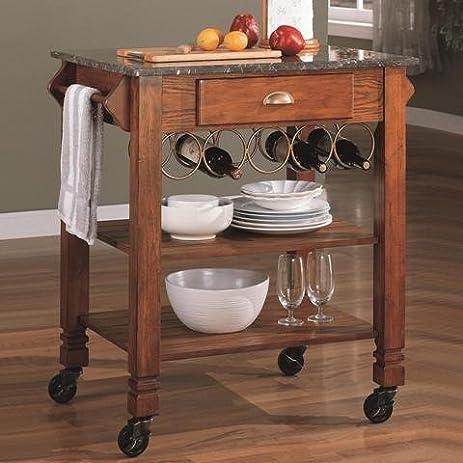 Coaster Home Furnishings 910009 Casual Kitchen Cart, Oak