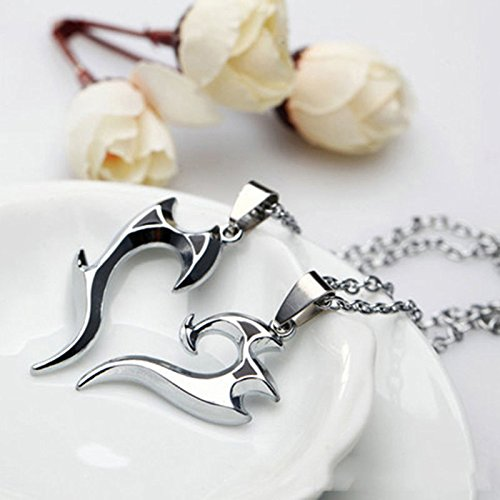 phitak shop Wonderful His and Hers Stainless Steel Love You Heart Couple Pendant Necklace by phitakshop (Image #2)