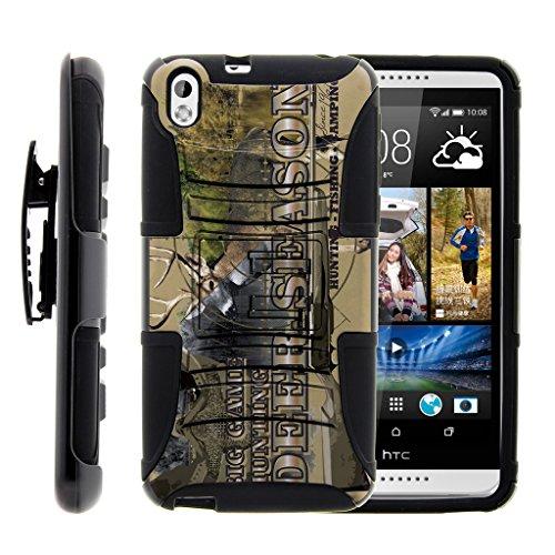 TurtleArmor | HTC Desire 816 Case [Hyper Shock] Hard Reinforced Rugged Cover Impact Hybrid Cover Holster Belt Clip with Kickstand - Deer Hunting Season