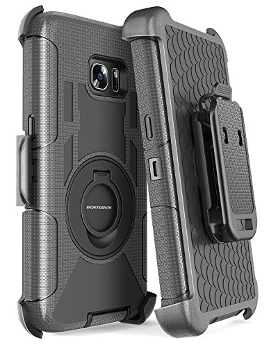 BENTOBEN Galaxy S7 Edge Case, Galaxy S7 Edge Case Belt Clip, 4 in 1 Heavy Duty Rugged Shockproof Hybrid Kickstand Combo Belt Clip Holster Cover Protective Phone Case for Samsung Galaxy S7 Edge, Black