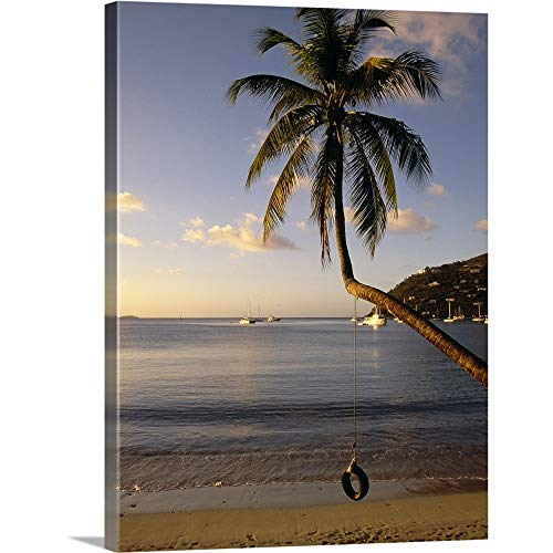 GREATBIGCANVAS Gallery-Wrapped Canvas Entitled Swing on a Palm Tree, Cane Garden Bay, Tortola, British Virgin Islands by - Tortola Bay Virgin British