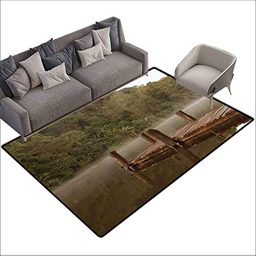 Anti-Slip Coffee Table Floor Mats Landscape,Wooden Pier in Lake with Trees Forest Landscape Foggy Morning in Woodland,Olive Green Brown 60