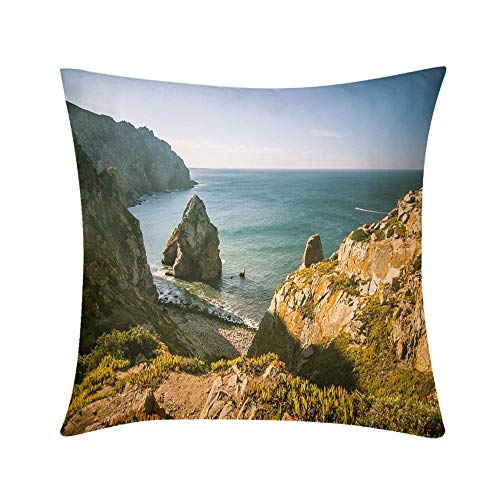 Double Sided Digital Printing Personalized Custom Throw Pillow A Beautiful Landscape on Cabo da Roca in Portugal Design for Sofa Bedroom Office Car Decorate Pillow