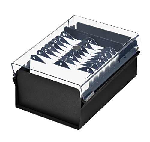 File Card Index (Acrimet 3 X 5 Card File Holder Organizer Metal Base Heavy Duty (Black Color with Crystal Plastic Lid Cover))