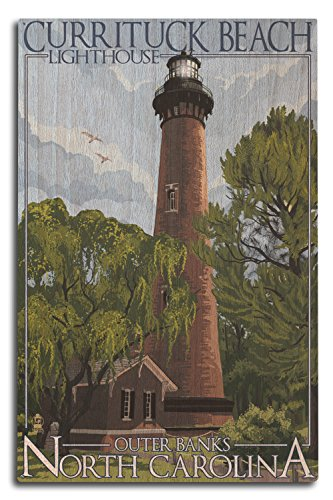 - Lantern Press Outer Banks, North Carolina - Currituck Beach Lighthouse Day Scene (10x15 Wood Wall Sign, Wall Decor Ready to Hang)