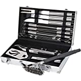 Sunflora Stainless Steel BBQ Tool Set with Case Heavy Duty Barbecue Grill Utensil Kit with Scraper Brush and Accessories for Men Dad (20 pcs)