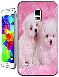Color Pink and White dogs on the bed Smile cell phone cases for Samsung Galaxy S5