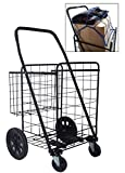Unique Imports Heavy Duty Metal Swivel Wheel Cart with Basket and Cargo Net, Black