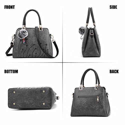 Womens Leather Soft Grey Briefcase Messenger Retro Capacity Tan Handbags Vintage Casual Tote BMKWSG Shoulder Bags Large Lady dAwaEtdqx