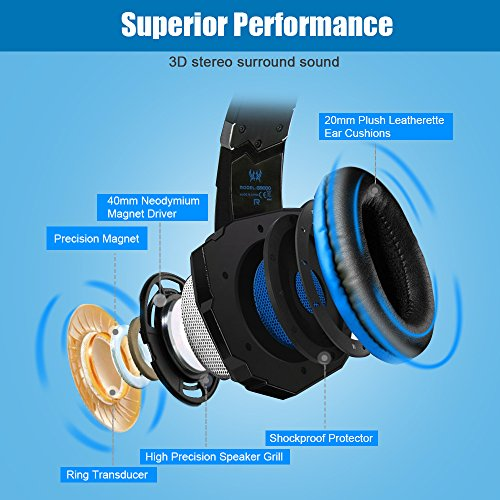 BENGOO G9000 Stereo Gaming Headset for PS4, PC, Xbox One Controller, Noise Cancelling Over Ear Headphones with Mic, LED Light, Bass Surround, Soft Memory Earmuffs for Laptop Mac Nintendo Switch Games