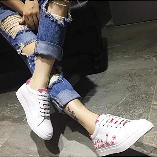ZHZNVX Scarpe Sneakers Primavera Punta Bianco Autunno da Tacco bovina tonda donna Comfort piatto White Pelle ar8rx
