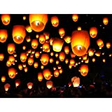 Tenozek (50pcs) Chinese Sky Kongming Lanterns Fire Fly Candle Lamp For Wish Party Wedding (US stock) (White)