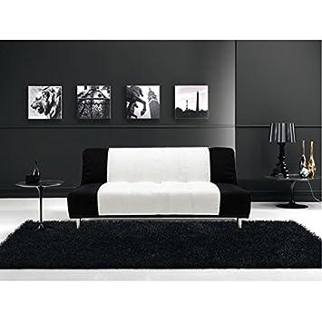 Divano letto sofà 175x77 3 posti bicolore bianco nero ...