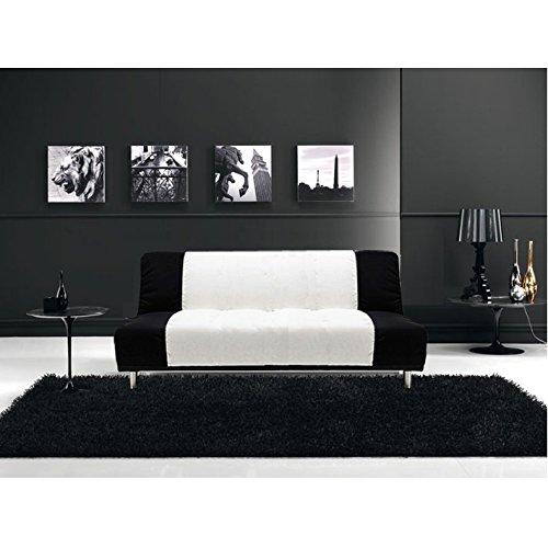 Divano letto sof 175x77 3 posti bicolore bianco nero for Divani letto on line
