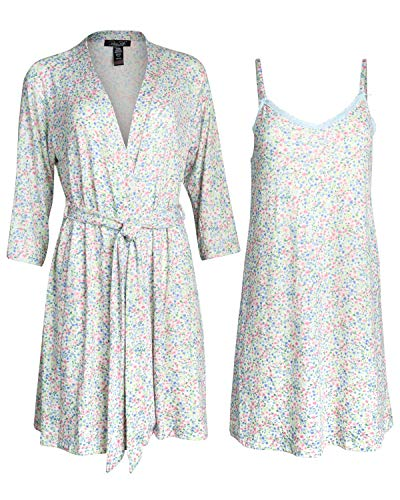 Rene Rofe Womens Lightweight Soft-Stretch Hacci Knit Robe and Chemise Nightgown Set (Spring Florals, X-Large)'