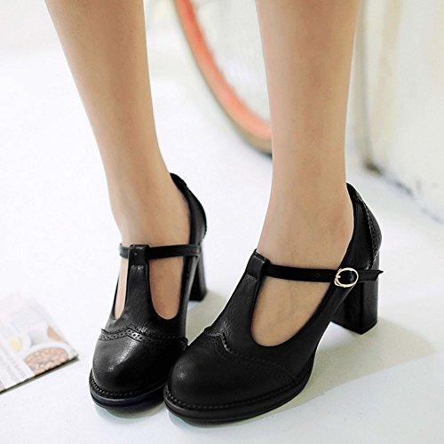 COOLCEPT Mujer Moda Correa en T Boca Baja Zapatos Medio Tacon Ancho Bombas Cerrado Zapatos Negro
