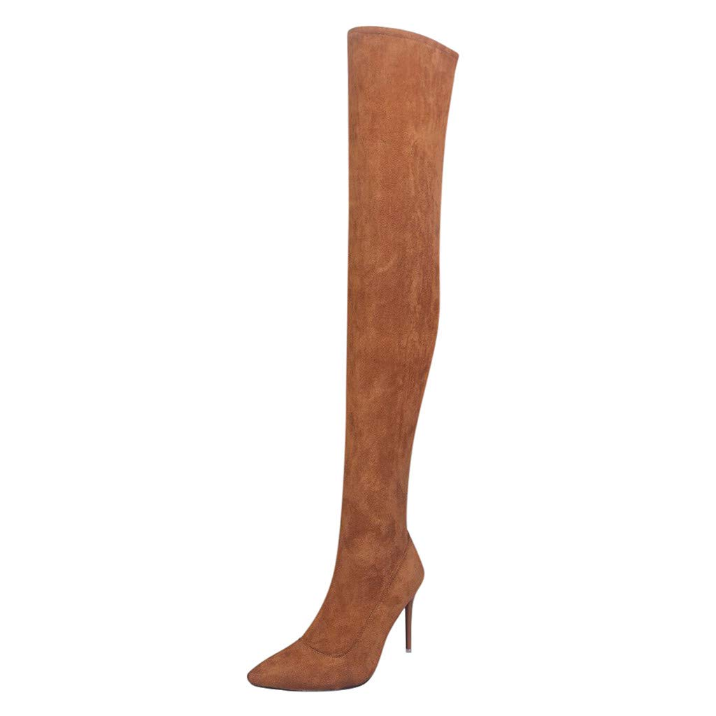Dermanony Womens Over Knee High Heel Boots Fashion Flock Pointed Toe Zipper High Boots Solid Color High Heel Shoes Brown by Dermanony _Shoes