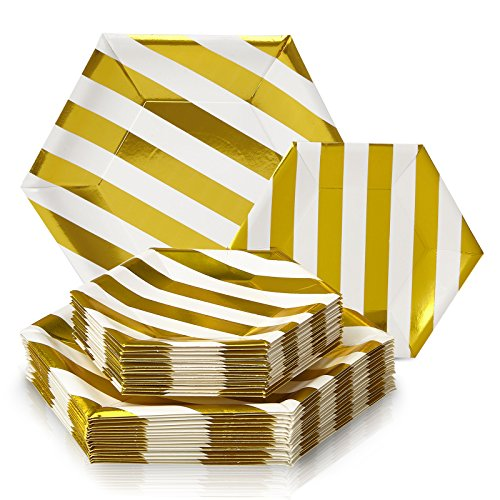 PARTY DISPOSABLE 36 PC DINNERWARE SET | 18 Dinner Plates | 18 Side Plates | Heavy Duty Disposable Paper Plates | Hexagon Design | for Upscale Wedding and Dining (Stripe Collection – White/Gold)