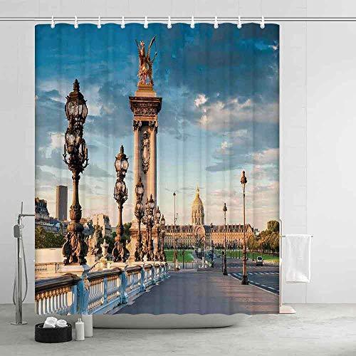 YOLIYANA Paris Decor Distinctive Shower Curtain,Pont Alexandre III Bridge 1896 Spanning The River Seine Ornate Art Nouveau Lamps for Men Women,70.87