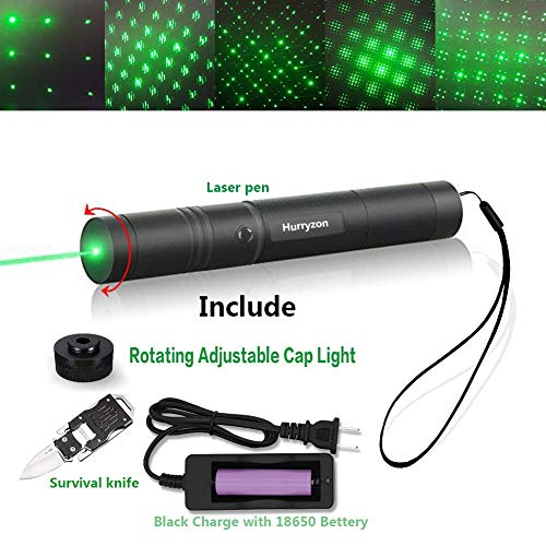 Tactical Green Hunting Rifle Scope Sight Laser Pen Demo Remote Pen Pointer Projector Travel Outdoor Flashlight LED Interactive Baton Funny Laser toy Hurryzon Green laser pen with nife
